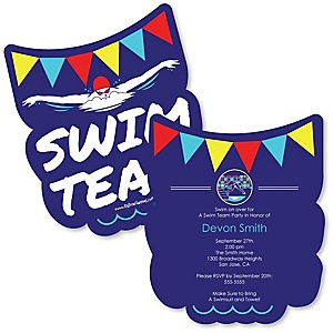 Making Waves - Swim Team - Shaped Baby Shower Invitations - Set of 12