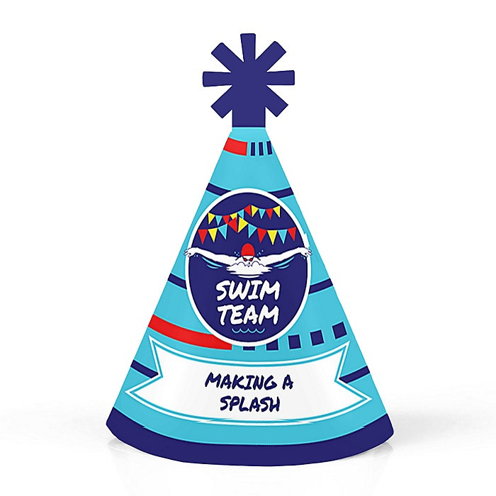 Making Waves - Swim Team - Personalized Mini Cone Baby Shower or Birthday Party Hats - Small Little Party Hats - Set of 10