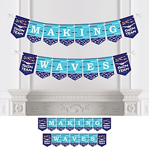 Making Waves - Swim Team - Personalized Baby Shower or Birthday Party Bunting Banner & Decorations
