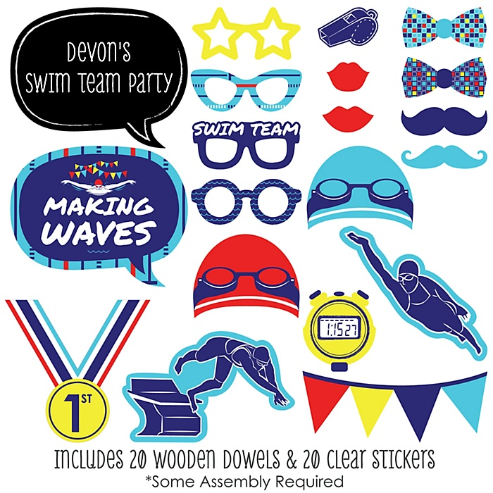 Making Waves - Swim Team - 20 Piece Baby Shower or Birthday Party Photo Booth Props Kit