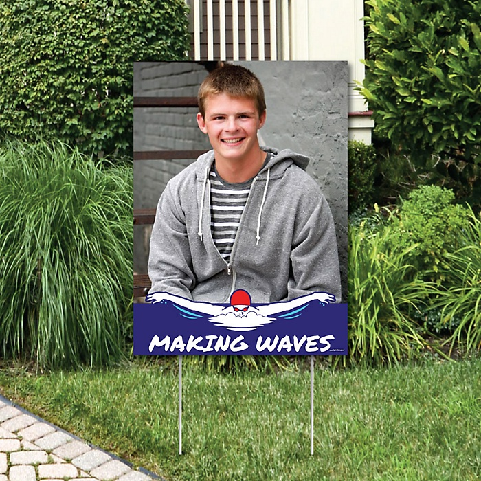 Making Waves - Swim Team - Photo Yard Sign - Swimming Party or Birthday Party Decorations