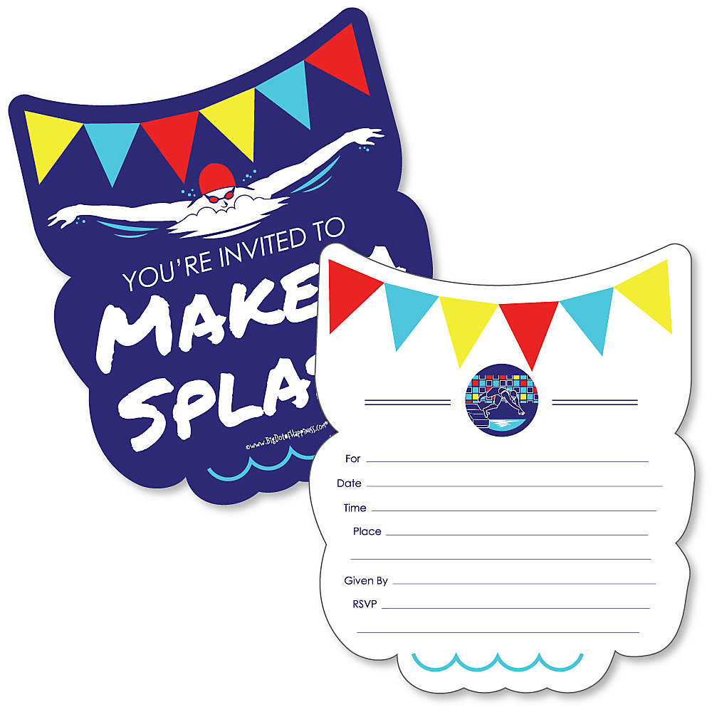 Making Waves Swim Team Shaped Fill In Invitations Baby Shower Or Birthday Party Invitation Cards With Envelopes Set Of 12