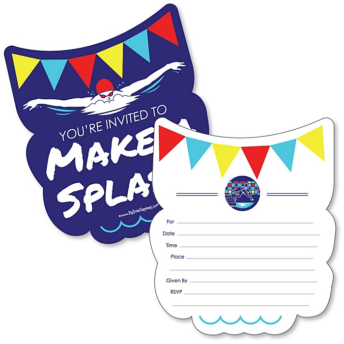 Making Waves - Swim Team - Shaped Fill-In Invitations - Baby Shower or Birthday Party Invitation Cards with Envelopes - Set of 12