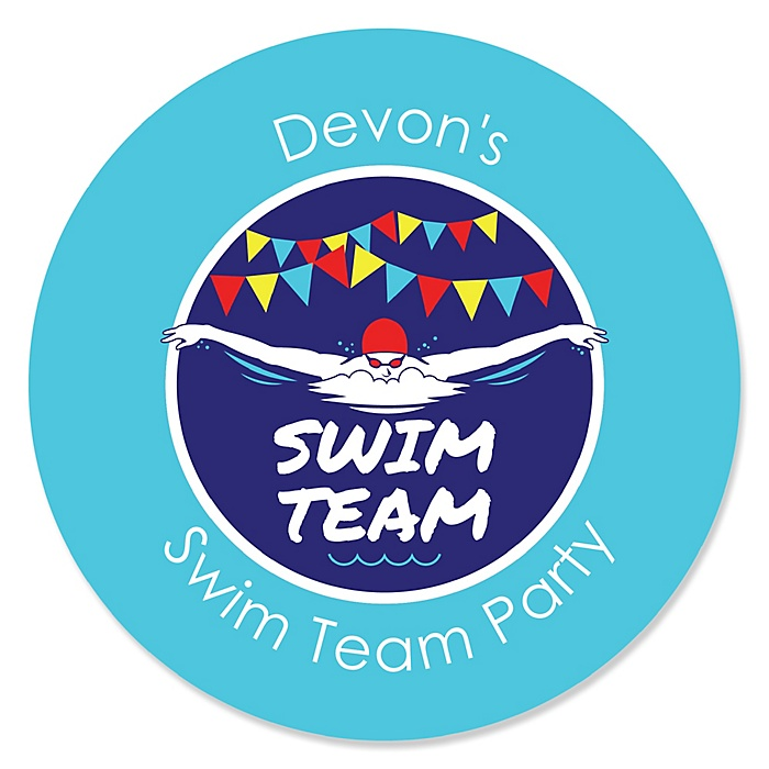 Making Waves - Swim Team - Personalized Baby Shower or Birthday Party Sticker Labels - 24 ct