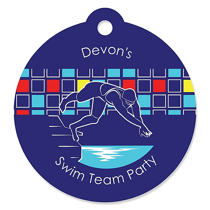 Making Waves - Swim Team - Personalized Baby Shower or Birthday Party Favor Gift Tags - 20 ct