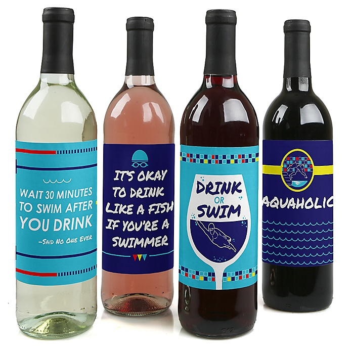 Making Waves - Swim Team - Wine Bottle Gift Labels - Swimming Party Bottle Label Stickers - Set of 4