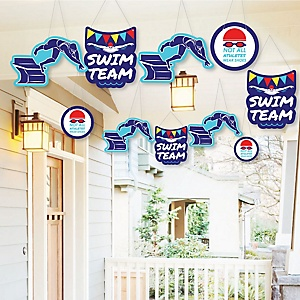 Hanging Making Waves - Swim Team - Outdoor Baby Shower or Birthday Party Hanging Porch & Tree Yard Decorations - 10 Pieces
