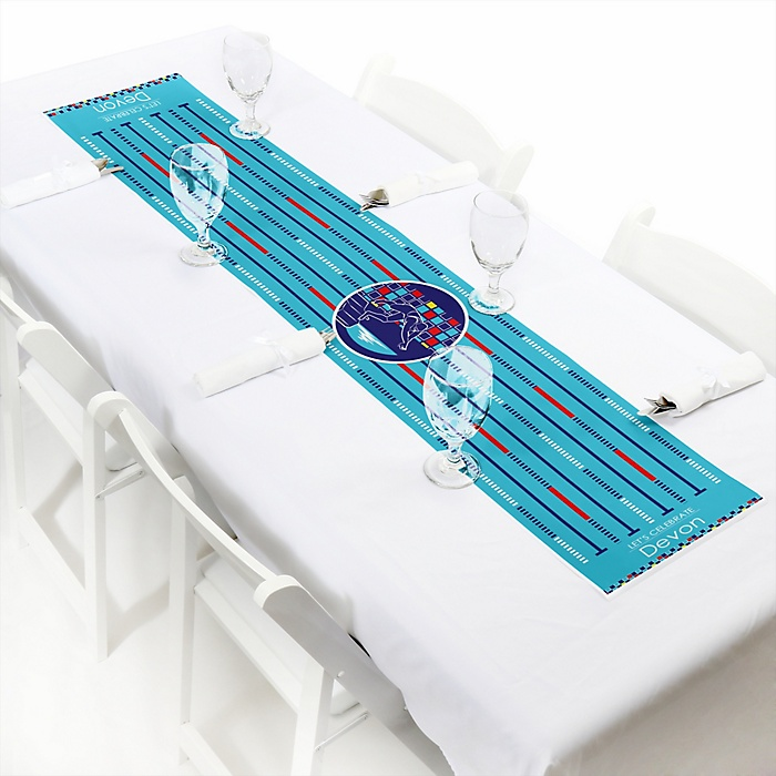 """Making Waves - Swim Team - Personalized Petite Baby Shower or Birthday Party Table Runner - 12"""" x 60"""""""