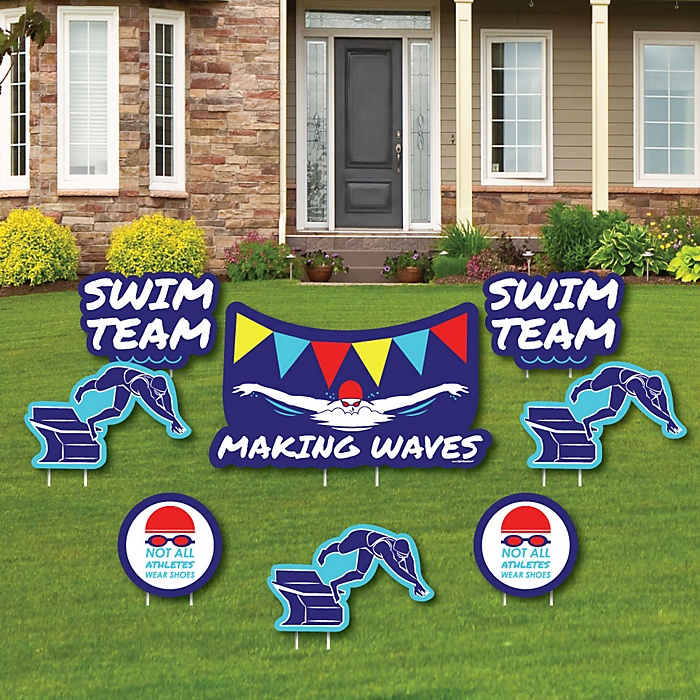 Making Waves - Swim Team - Yard Sign & Outdoor Lawn Decorations - Baby Shower or Birthday Party Yard Signs - Set of 8