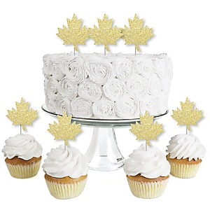 Gold Glitter Maple Leaf - No-Mess Real Gold Glitter Dessert Cupcake Toppers - Canada Day Canadian Party Clear Treat Picks - Set of 24