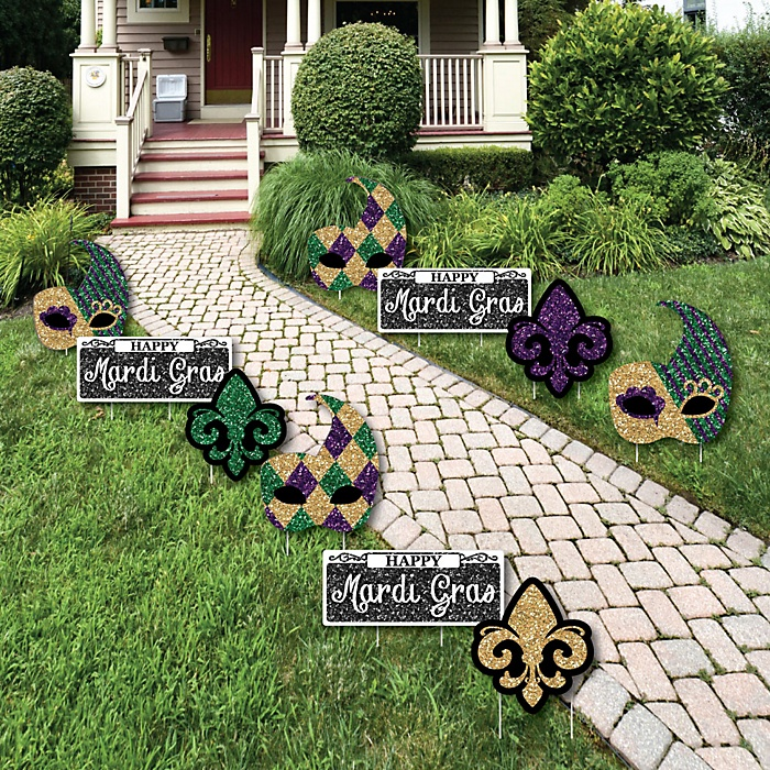 Mardi Gras - Mask and Fleur De Lis Lawn Decorations - Outdoor Masquerade Party Yard Decorations - 10 Piece