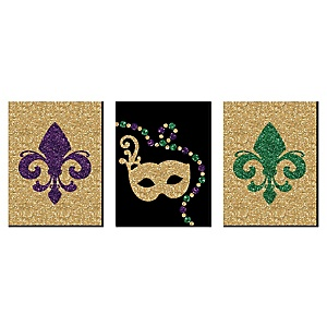 """Mardi Gras - Nursery Wall Art, Kids Room Décor and Masquerade Themed Room Home Decorations - 7.5"""" x 10"""" - Set of 3 Prints"""