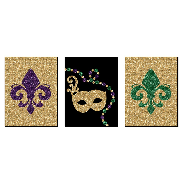 Mardi Gras - Fleur de Lis Wall Art, New Orleans Decor and Masquerade Themed Room Home Decorations - 7.5 x 10 inches - Set of 3 Prints