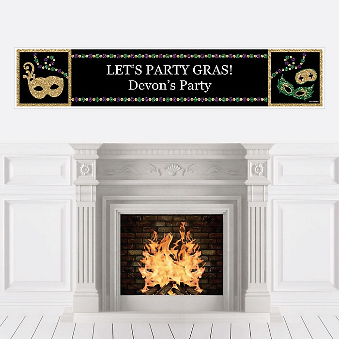Mardi Gras - Personalized Masquerade Party Banner