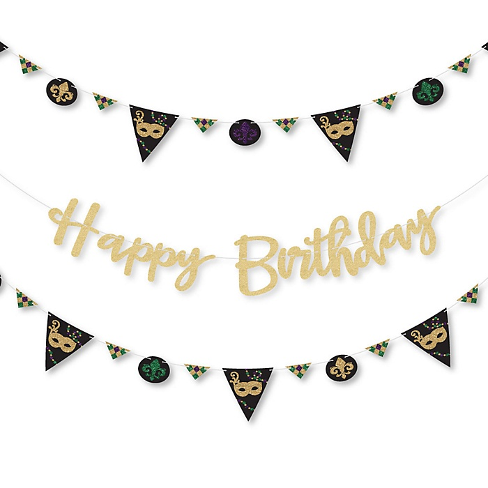 Mardi Gras - Masquerade Birthday Party Letter Banner Decoration - 36 Banner Cutouts and No-Mess Real Gold Glitter Happy Birthday Banner Letters
