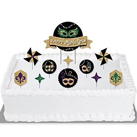 Mardi Gras - Masquerade Party Cake Decorating Kit - Happy Mardi Gras Cake Topper Set - 11 Pieces
