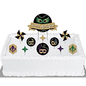 Mardi Gras - Masquerade Party Cake Decorating Kit - Happy Mardi Gras Cake Topper Set - 11 Pieces