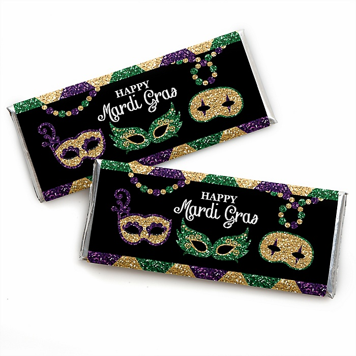 Mardi Gras -  Candy Bar Wrapper Masquerade Party Favors - Set of 24