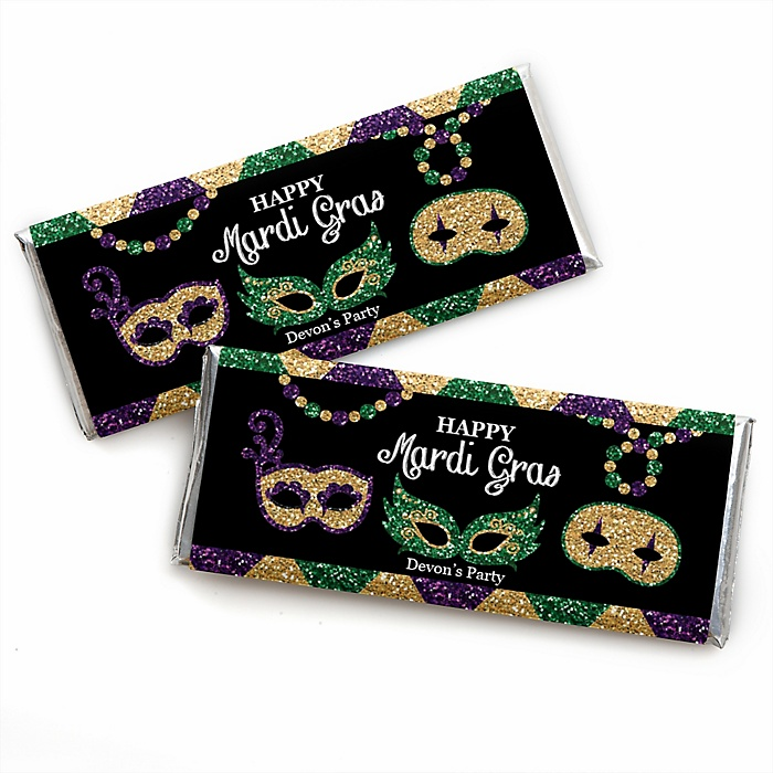 Mardi Gras - Personalized Candy Bar Wrapper Masquerade Party Favors - Set of 24