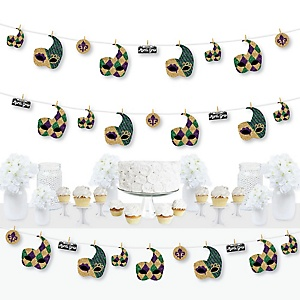 Mardi Gras - Masquerade Party DIY Decorations - Clothespin Garland Banner - 44 Pieces
