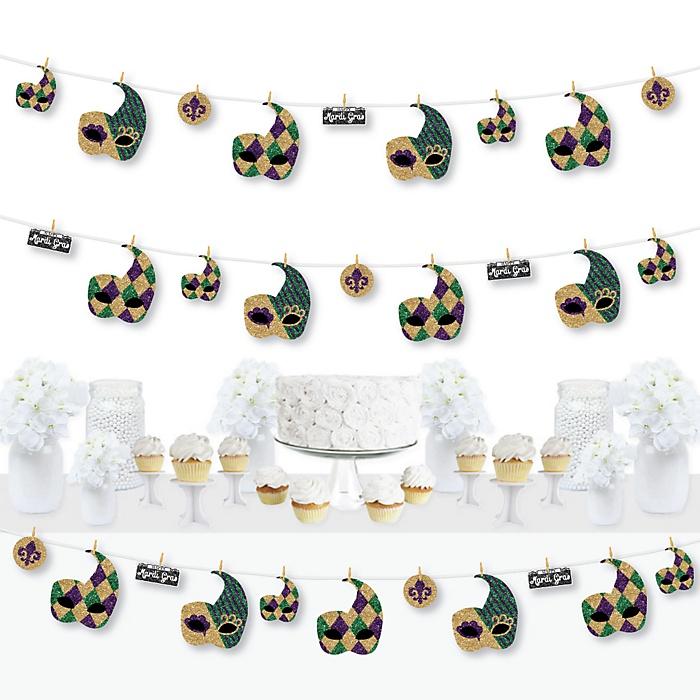 Mardi Gras - Masquerade Party DIY Decorations - Clothespin Garland Banner - 44 Pieces