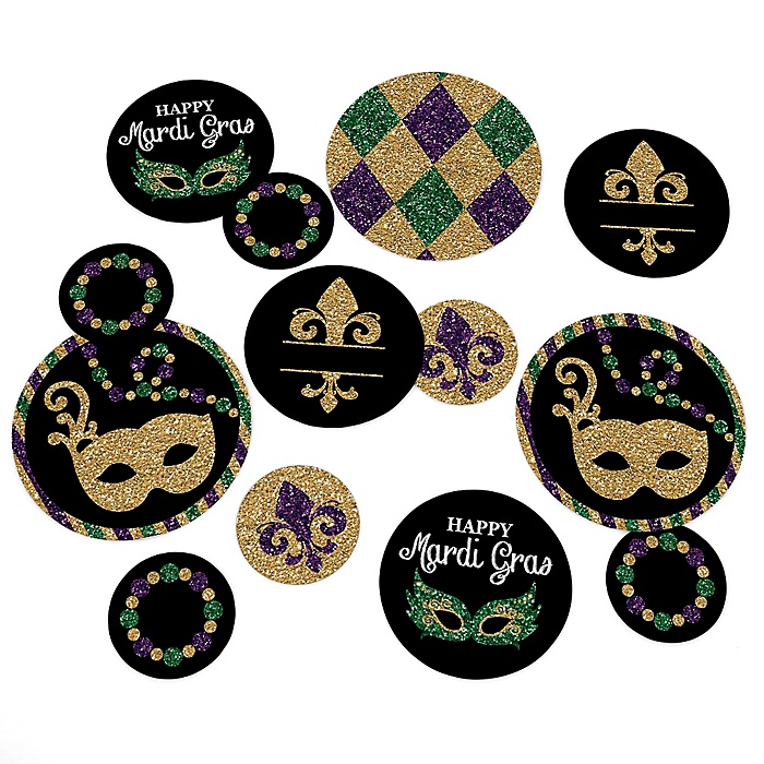 Mardi Gras - Masquerade Party Giant Circle Confetti - Mardi Gras Party Decorations - Large Confetti 27 Count