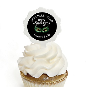 Mardi Gras - Cupcake Picks with Personalized Stickers - Masquerade Party Cupcake Toppers - 12 Count