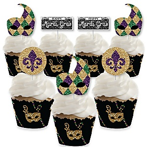 Mardi Gras - Cupcake Decoration - Masquerade Party Cupcake Wrappers and Treat Picks Kit - Set of 24