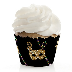 Mardi Gras - Masquerade Party Decorations - Party Cupcake Wrappers - Set of 12
