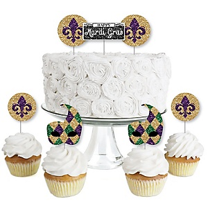Mardi Gras - Dessert Cupcake Toppers - Masquerade Party Clear Treat Picks - Set of 24