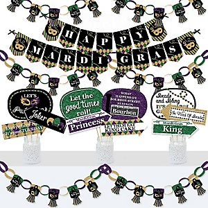 Mardi Gras - Banner and Photo Booth Decorations - Masquerade Party Supplies Kit - Doterrific Bundle