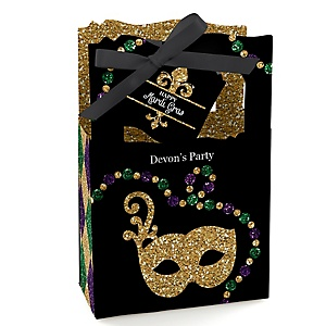 Mardi Gras - Personalized Masquerade Party Favor Boxes - Set of 12
