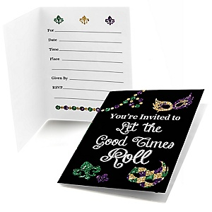 Mardi Gras - Fill In Masquerade Party Invitations - 8 ct
