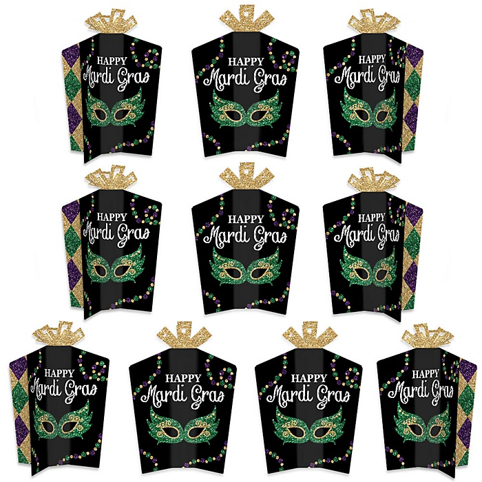 Mardi Gras - Table Decorations - Masquerade Party Fold and Flare Centerpieces - 10 Count