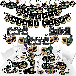 Mardi Gras - Masquerade Party Supplies - Banner Decoration Kit - Fundle Bundle