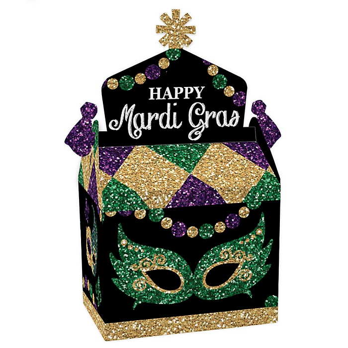 Mardi Gras - Treat Box Party Favors - Masquerade Party Goodie Gable Boxes - Set of 12