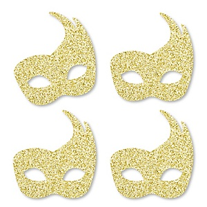 Gold Glitter Masks - No-Mess Real Gold Glitter Cut-Outs – Masquerade Mardi Gras Party Confetti - Set of 24