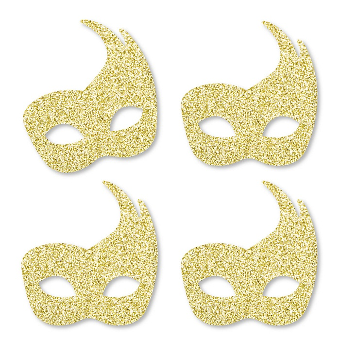 Gold Glitter Masks - No-Mess Real Gold Glitter Cut-Outs – Masquerade Mardi Gras Party Confetti - Set of 24