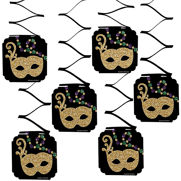 Mardi Gras - Masquerade Party Hanging Decorations - 6 Count