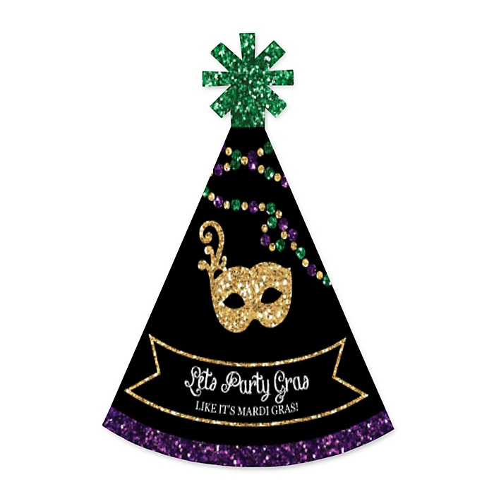 Mardi Gras - Personalized Mini Cone Masquerade Party Hats - Small Little Party Hats - Set of 10