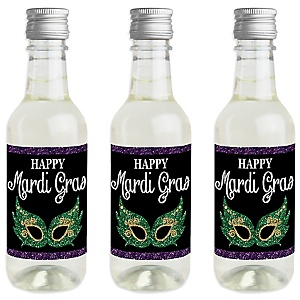 Mardi Gras - Mini Wine and Champagne Bottle Label Stickers - Masquerade Party Favor Gift for Women and Men - Set of 16