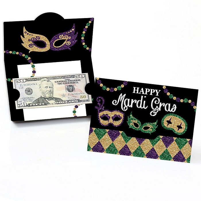 Mardi Gras - Masquerade Party Money and Gift Card Holders - Set of 8