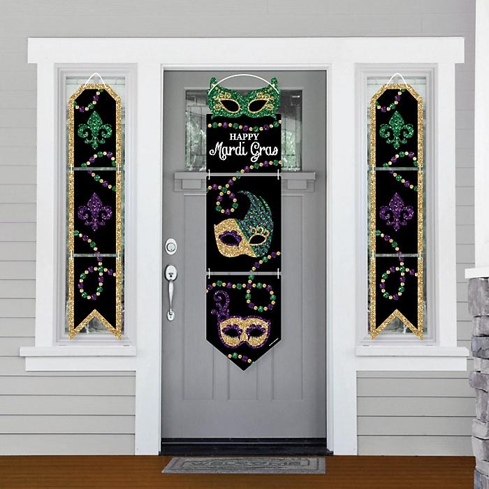 Mardi Gras - Hanging Porch Front Door Signs - Masquerade Party Banner Decoration Kit - Outdoor Door Decor