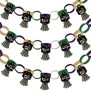 Mardi Gras - 90 Chain Links and 30 Paper Tassels Decoration Kit - Masquerade Party Paper Chains Garland - 21 feet