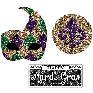 Mardi Gras - DIY Shaped Masquerade Party Paper Cut-Outs - 24 ct