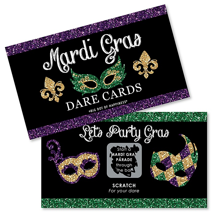 Mardi Gras - Masquerade Party Scratch Off Dare Cards - 22 Cards