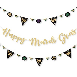 Mardi Gras - Masquerade Party Letter Banner Decoration - 36 Banner Cutouts and No-Mess Real Gold Glitter Happy Mardi Gras Banner Letters
