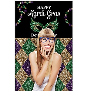 "Mardi Gras - Masquerade Party Photo Booth Backdrops - 36"" x 60"""