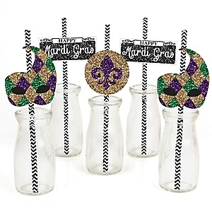 Mardi Gras - Paper Straw Decor - Masquerade Party Striped Decorative Straws - Set of 24