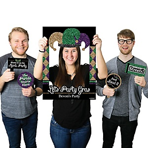 Mardi Gras - Personalized Masquerade Party Selfie Photo Booth Picture Frame & Props - Printed on Sturdy Material